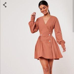 orange double button pleated skater dress